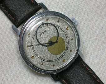 Soviet Watch Raketa Copernik. Rare Silver Face, Space Atomic Age, Works!