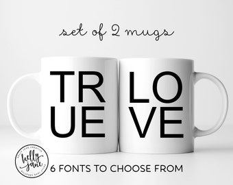 True Love Mug Set | Choice of Font | His and Hers Coffee | Valentine Gift for Married Couple | Anniversary Gift Ideas | Bride & Groom Gift