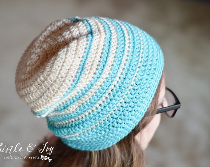 Faded Stripes Slouchy Hat Crochet PATTERN PDF DOWNLOAD