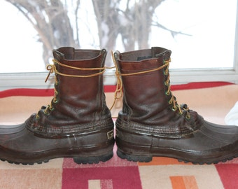 Vtg. L.L. Bean Duck Hunting Chocolate Leather & Rubber  Boots Mens