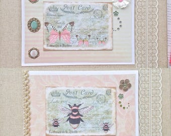 Greeting cards, set of 2 blank cards, french style bumble bee and butterfly birthday cards, June birthday card, all occasion greeting cards