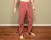 vintage 60s 70s corduroy pants Wrangler women junior dusty rose pink 1960 straight leg regular fit 29x32 29 waist