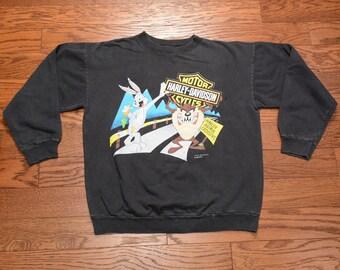 vintage 90s Looney Tunes biker sweatshirt Harley Davidson motorcycle Taz Bugs Bunny 1990 Fun-Wear Warner Bros. 10% cotton L large
