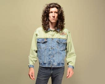 vintage 80s Bugle Boy jacket stonewash denim green jean jacket 1980 All-Star Champion oversize slouch two-tone denim jacket M/L