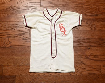 vintage 40s 50s SOX baseball jersey Russell Southern Co baseball uniform shirt Chicago Boston Red Sox White Sox youth M adult XXS XS