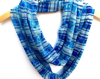 Infinity / Loop Scarf - Blue & Light Blue Striped Infinity Scarf