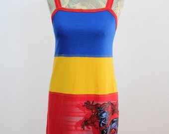 Spidey Sense Upcycled Cotton Dress, size 0-2