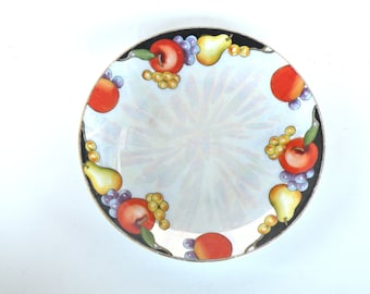 Morning Glow Pattern Noritake Dish Pears Apples Grapes Black Border Color- Discontinued N1437 Garden Lover China