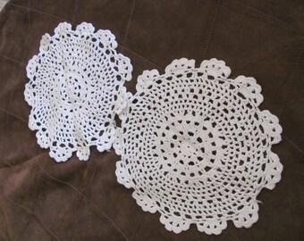 "Set of 2 Vintage Handmade Crocheted Doily 8"" Inch Round (#44B)"