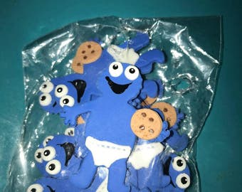 12 cold porcelain number cookie monster  for birthday/ babyshower favors /capias
