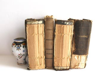 Instant Library / Decorative Books / Vintage Display Bundle Old Decor Small Religious Movie TV Props Psalmebog Danish Wedding Stack Tattered