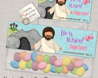 Christian easter etsy christian easter treat bag toppers printable he is risen jesus easter basket tag religious negle Image collections