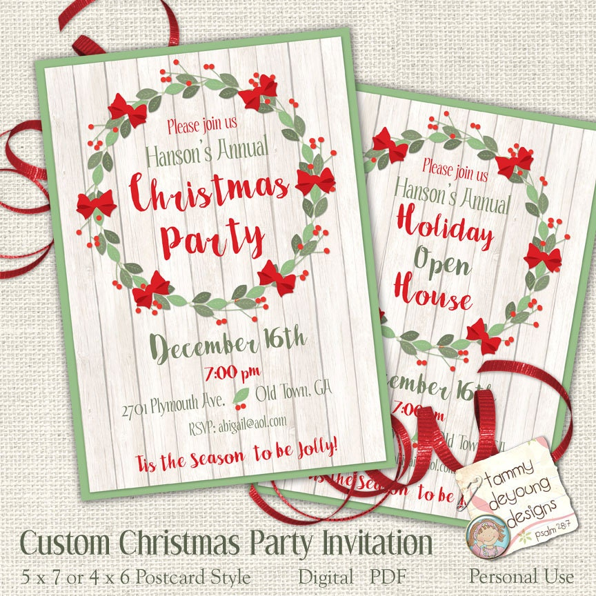 Printable Christmas Party Invitation Customized Your Words