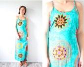 20% OFF BLACK FRIDAY Sale Vintage Boho maxi dress // turquoise dress // hippie sleeveless dress // bohemian summer dress // floral sunshine