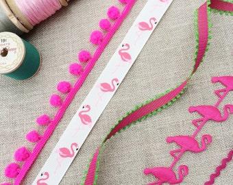 Flamingo Ribbon, Collection. Flamingo Ribbon. Pink Ribbon. Shocking Pink Pom Pom Trim. Tropical Print. Pink Ric Rac