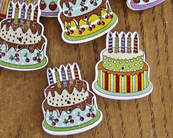 Birthday Cake Mixed Wood Buttons Lot of 10
