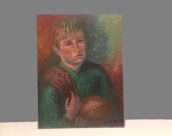Mid Century Original Oil Painting Portrait Boy with Football Vintage 1950s 50s 1960s 60s