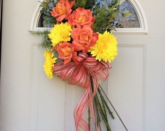 Spring and Summer Door Bouquet, Wreath alternative, Soft Peach and Yellow Roses, Sunny Yellow Asters.