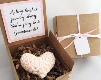 Pale Pink Heart Hand Crocheted: baby announcement, pregnancy announcement, you are going to be a grandmother, new baby