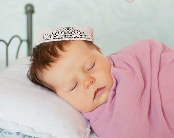 Pink Scalloped Lace Crown  Newborn Infant Photo Prop Cake Topper Lace Tiara