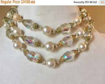 WINTER SALE Pretty Vintage 3 Strand Aurora Borealis Crystal and Glass Pearl Necklace
