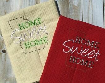 Custom Home Sweet Home Embroidered Kitchen Towels Georgia