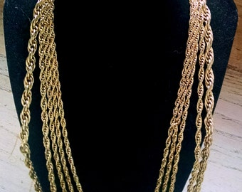 Necklace Gold Tone Chain 5 Strand Vintage Jewelry Jewellery Career Statement Gift