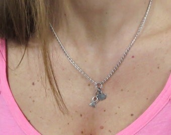 breast cancer ribbon necklace. chain link antiqued silver with pink ribbon and heart charm. choose length.