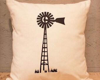 Windmill Pillow Cover - Farm Pillow Cover - Heat Press Vinyl Windmill - Windmill Throw Pillow - Canvas Pillow - Accent Pillow
