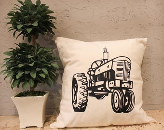 Tractor Pillow Cover - Farm Pillow Cover - Pillow Cover With Tractor - Heat Press Vinyl - Tractor Throw Pillow - Canvas Pillow
