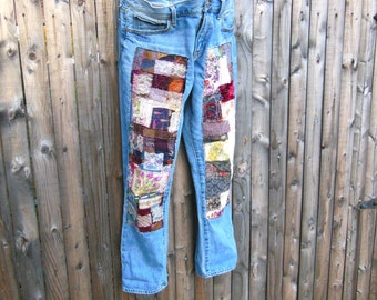 patched denim jeans, hippie boho, upcycled denim, patchwork, boyfriend jean, size 27, size 6