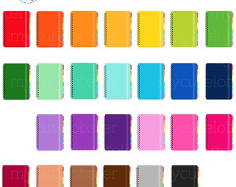 Rainbow Notebooks Clipart Set - notebooks clip art, planners, planning, rainbow - personal use, small commercial use, instant download