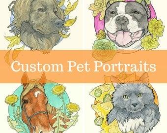 "Custom Pet Portrait - 8x10"" watercolor and pencil"