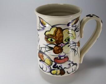 Cat coffee cup cat coffee mug kitty tea mug Calico kitty cup lead free