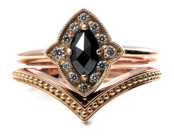 Art Deco Rose Gold Engagement Ring Set - Marquise Rose Cut Black Diamond with Tiny Diamond Halo