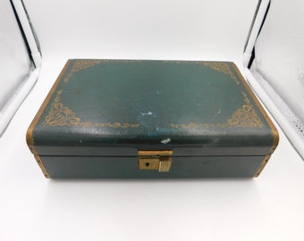 1950's Vintage Turquoise Farrington Jewelry Box Genuine Texol Box  i