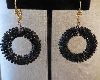 Vintage 1950s to 1960s Updated Pierced Black Glass Beaded Loops/Circular Earrings Flowered Brass Ear Lever Back Wires Ooak