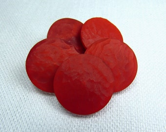 """Scarlet Ripple: 7/8"""" (22mm) Scarlet Red Buttons - Set of 5 Vintage New Old Stock Matching Buttons"""