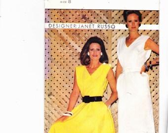 Butterick 4963 Sleeveless Dress With Unique Shoulder Flange Vintage 1980's Desinger Janet Russo Uncut Pattern FF