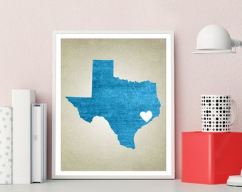 Texas | State Map Print, State Map Art, State Map, Map Art, Map for Home, Anniversary Gift, Birthday Gift, Wedding Gift, State Map Poster