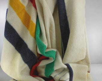 HUDSON BAY Wool Blanket Classic Stripe 1970s Virgin Condition 4 Point Orig Bag