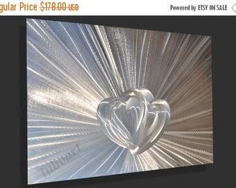"Mothers Day SALE 15% OFF 36"" Love Silver Metal Art Heart modern no painting coloured light reflective Aluminum wall sculpture home Decor han"
