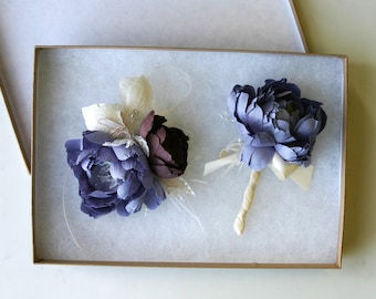 Boutonniere or corsage set . Pure silk. Dupioni silk. Lilac, lavender, purple, plum and champagne