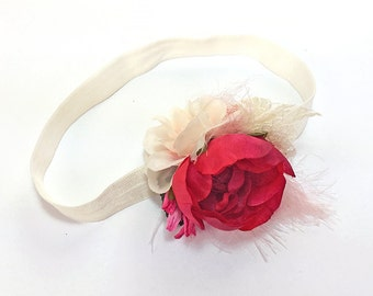 Fuchsia Red, Pink Peony and Rose Lace Headband for Newborn Baby Photo Prop - Pink and Ivory Hair Bow for Flower Girl - Baby Shower Gift