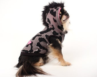 Dog Clothes leopard heart Hoodie for Dogs mohawk dog sweater Clothes for Pets