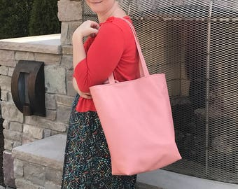 Market bag - tote bag - travel bag - carry on -  large purse- book bag - pink leather - made in the USA