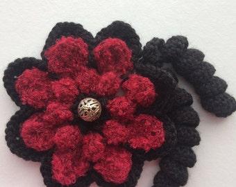 Crochet Flower.Handmade Flower Brooch.Crochet Flower Art.