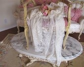 Long And Lovely LACE ROSES CURTAIN Panel, Shabby Chic, Bedroom Lace, Boudoir, Romantic French