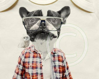 Awesome dog baby clothes, unique / gender neutral, organic cotton, onesie, tshirt, lumberjack, glasses, owl