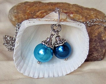 Hand Made Seashell Charm Necklace with Two Small Blue Glass Pearl Charms 27""